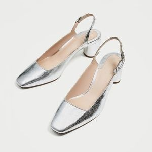 New Zara Silver Slingback Shoe Heel Pump 7.5 38